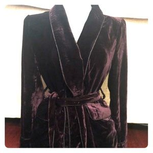 Amaryllis purple velour belted open front blazer